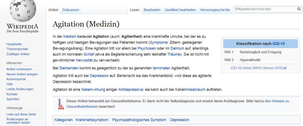 """Wikipedia Definition zu """"agitiert"""", """"Agitation"""" und """"agitiertes Verhalten"""""""