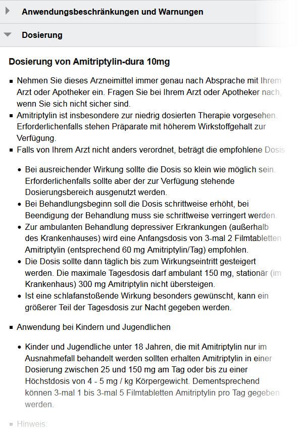 """Hinweise zur Amitriptylin Dosierung im """"dura""""-Beipackzettel auf apotheken-umschau.de"""