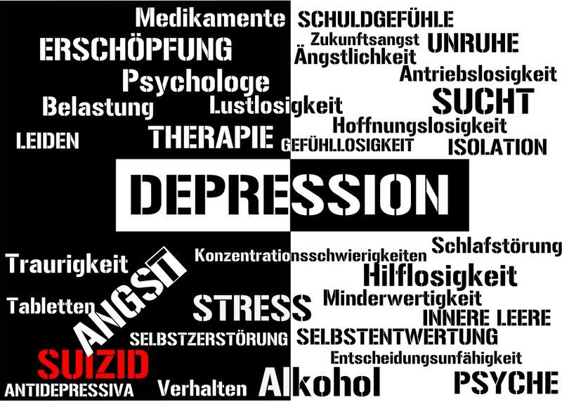 Aspekte von Depressionen   Erschöpfung, innere Leere, Selbstentwertung, Konzentrationsschwierigkeiten, Schuldgefühle, Antriebslosigkeit ... (© zwieback2003 / Fotolia)