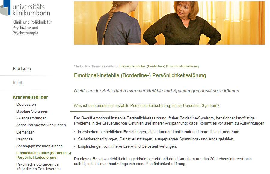 Das Borderline-Syndrom bzw. Borderline Störungen werden heute in der Fachwelt überwiegend als emotional instabile Persönlichkeitsstörung bezeichnet (Screenshot psychiatrie.uni-bonn.de... am 21.02.2017)