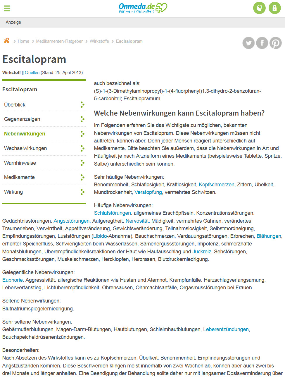 Das Medizinportal Onmeda berichtet ebenfalls seriös und ausführlich über mögliche und häufige Escitalopram Nebenwirkungen (Screenshot 06.03.2018)