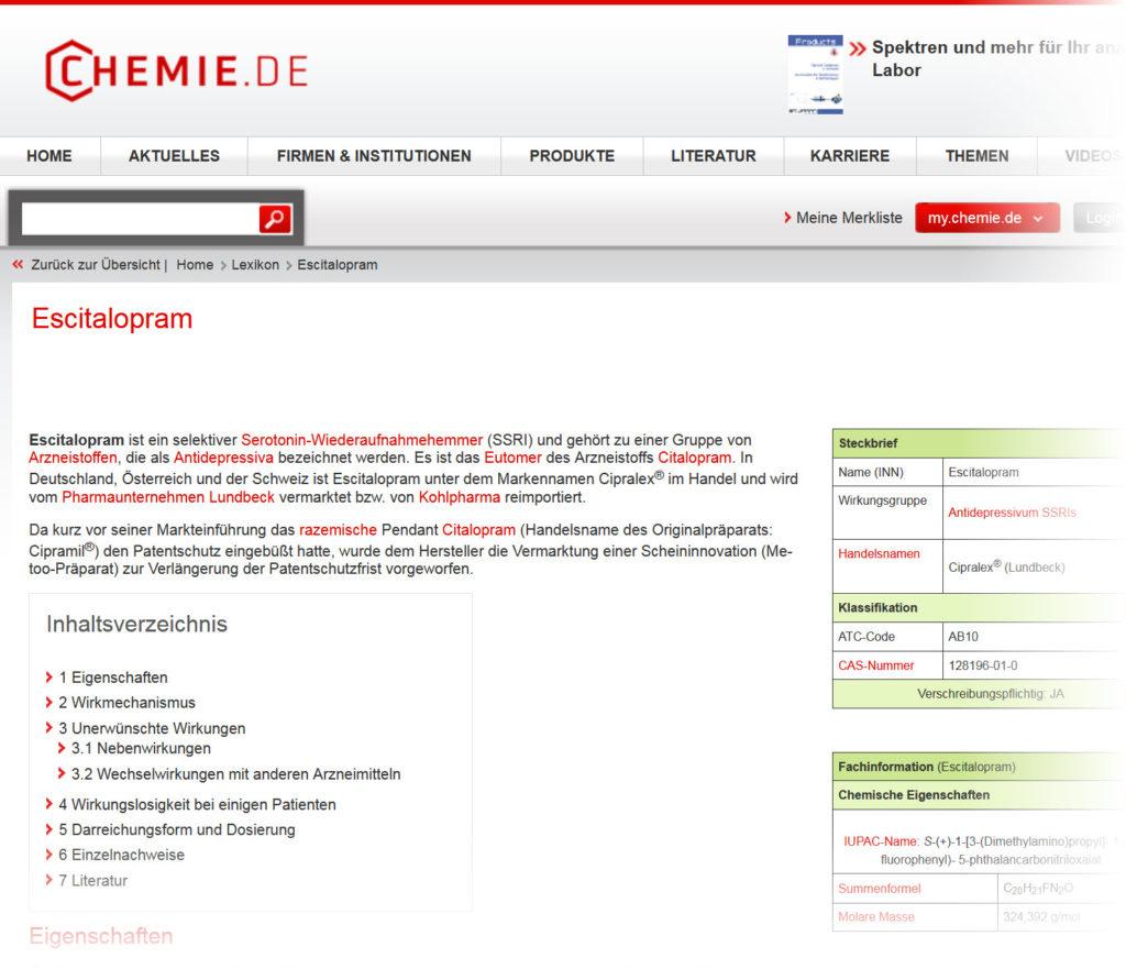 Escitalopram Wirkung, erläutert auf Chemie.de (Screenshot chemie.de/lexikon/Escitalopram.html am 06.03.2018)