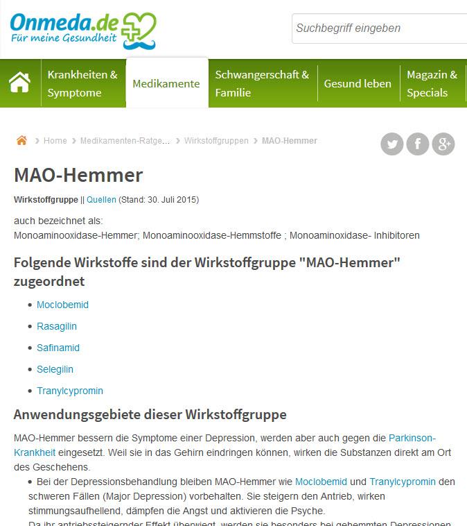 MAO Hemmer: Monoaminooxidase-Hemmer und ihre Wirkstoffe (Screenshot onmeda.de/Wirkstoffgruppe/MAO-Hemmer.html am 28.11.2016)