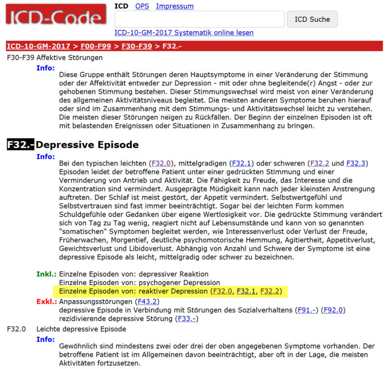 Reaktive Depression ICD 10 | Definition und Symptome (reaktive Depressionen, reaktive depressive Verstimmung) - Screenshot http://www.icd-code.de/icd/code/F32.2.html am 28.06.2017)