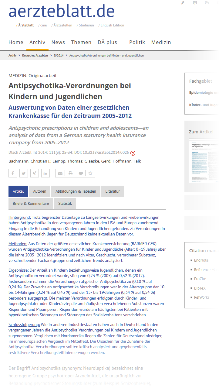 Verschreibung von Risperidon bei Kindern - Statistik / Auswertung - Bericht aerzteblatt.de (Screenshot vom 20.04.2020)