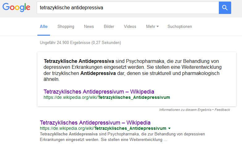 Tetrazyklische Antidepressiva (Tetrazyklika) - laut Wikipedia pharmakologisch den TZA sehr ähnlich